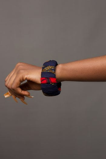DEMI African Print Bangle in Red and Blue Ankara by Naborhi