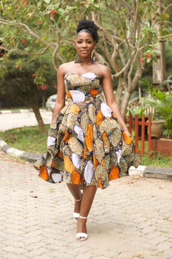 Floral Ankara Strapless Midi Prom Dress - Imose African Print Dress by Naborhi