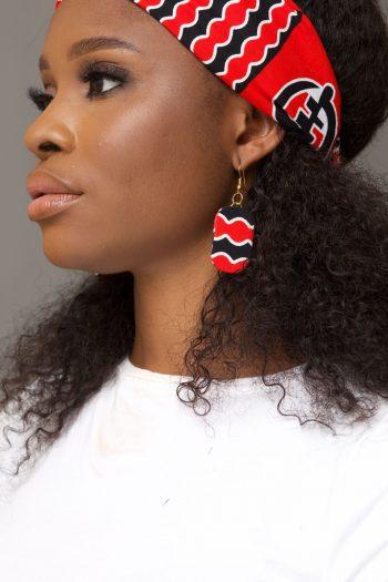JELA Ankara Rectangle Earrings with Matching Headband by Naborhi