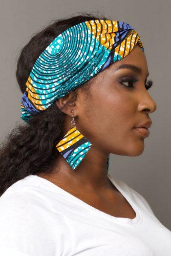KANYI African Print Turban Headband and Earring in Blue and Yellow Ankara Print by Naborhi