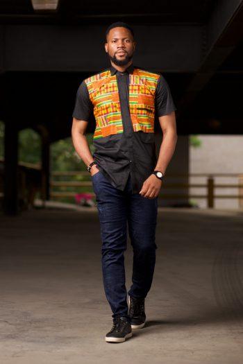 KWABENA Kente African Shirt with Short Sleeves