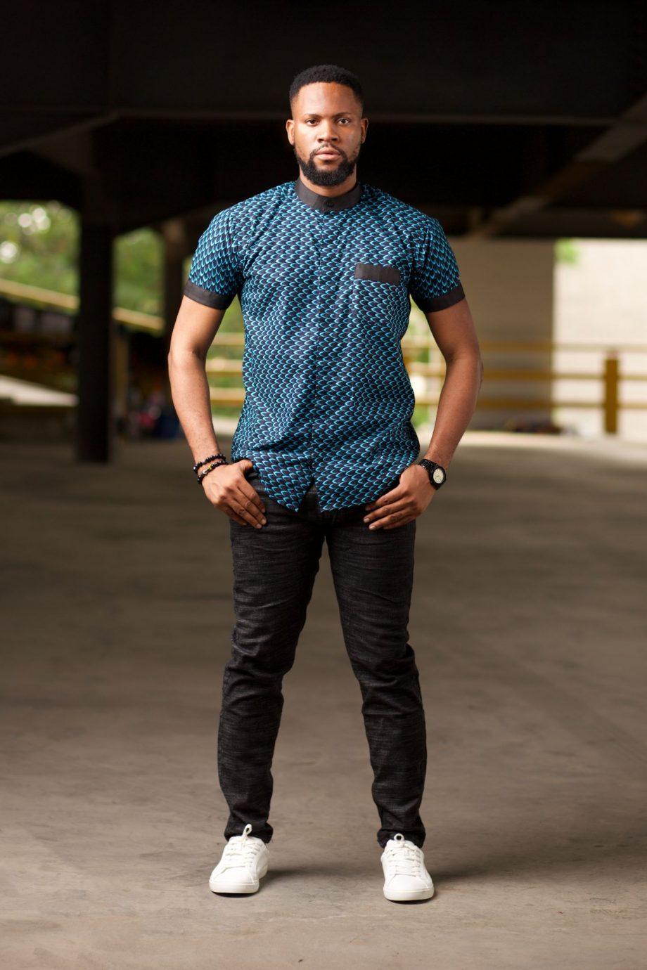 Mens Blue Ankara Shirt with Contrasting Black Pocket - MOSI by Naborhi