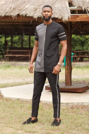 Mens Short Sleeve African Suit KUFRE in Grey and Black by Naborhi