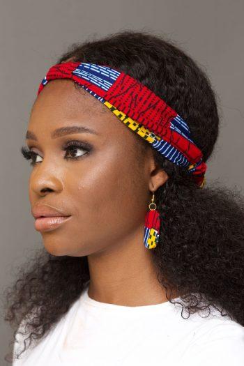 Naade African Print Ankara Earrings and Matching Headband - NAADE by Naborhi