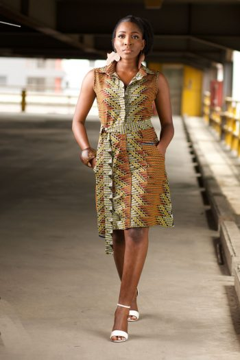 REHEMA African Print Ankara Shirt Dress with Adjustable Tie - Brown and Green by Naborhi African Clothing Brand