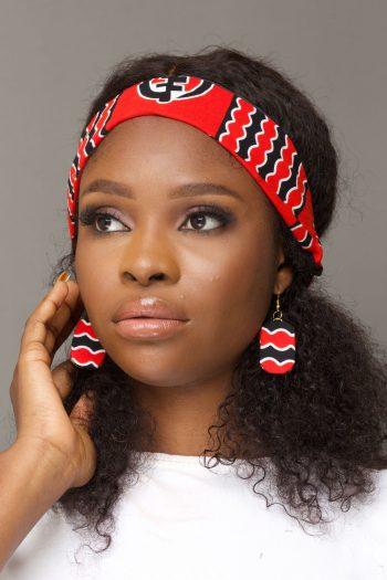 Red African Print Ankara Headband - JELA by Naborhi