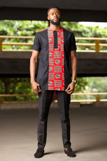 Red and Black Ankara Suit for Men - JELA by Naborhi