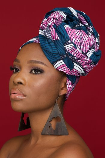 WUMI African Print Ankara Head Wrap in Pink and Grey - WUMI by Naborhi
