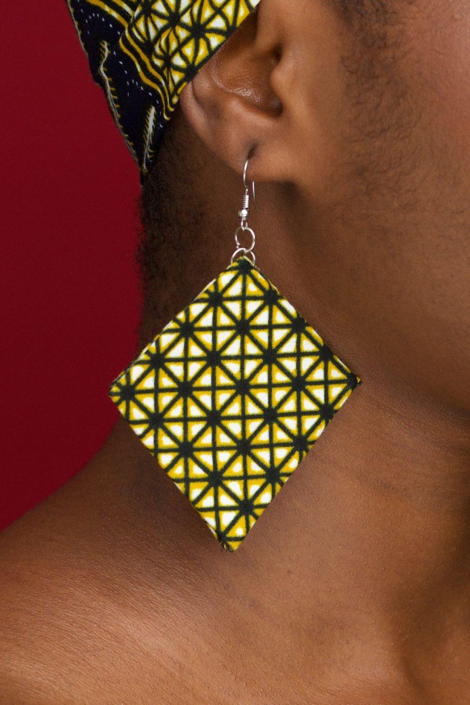 Yellow Diamond Shaped Ankara Earrings - KETA by Naborhi - KETA