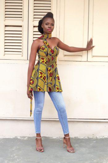 Zawadi African Print Strapless Top