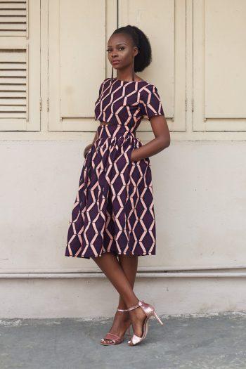 Alika African Print Crop Top And Midi Skirt Side View