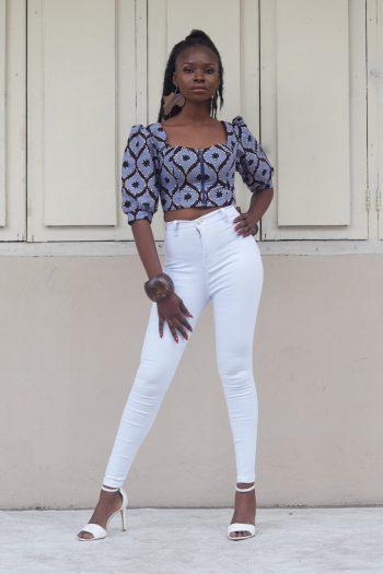 Alika African Print Puff Sleeve Crop Top