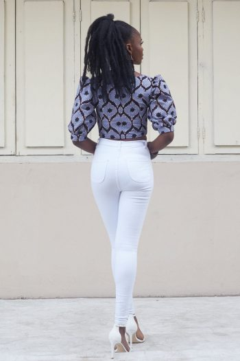 Alika African Print Puff Sleeve Back View