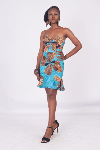 Asha African Print Peplum Mini Dress
