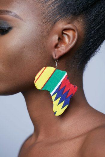African Earrings - Adaku Ankara Africa Map Earrings