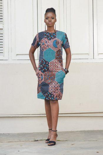 African Print Dresses UK - Osumare Midi Shift Dress