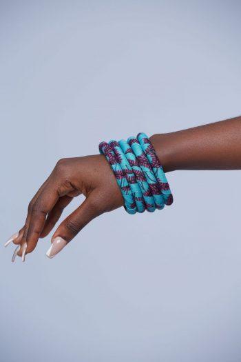 Aina African Bangles Set Blue