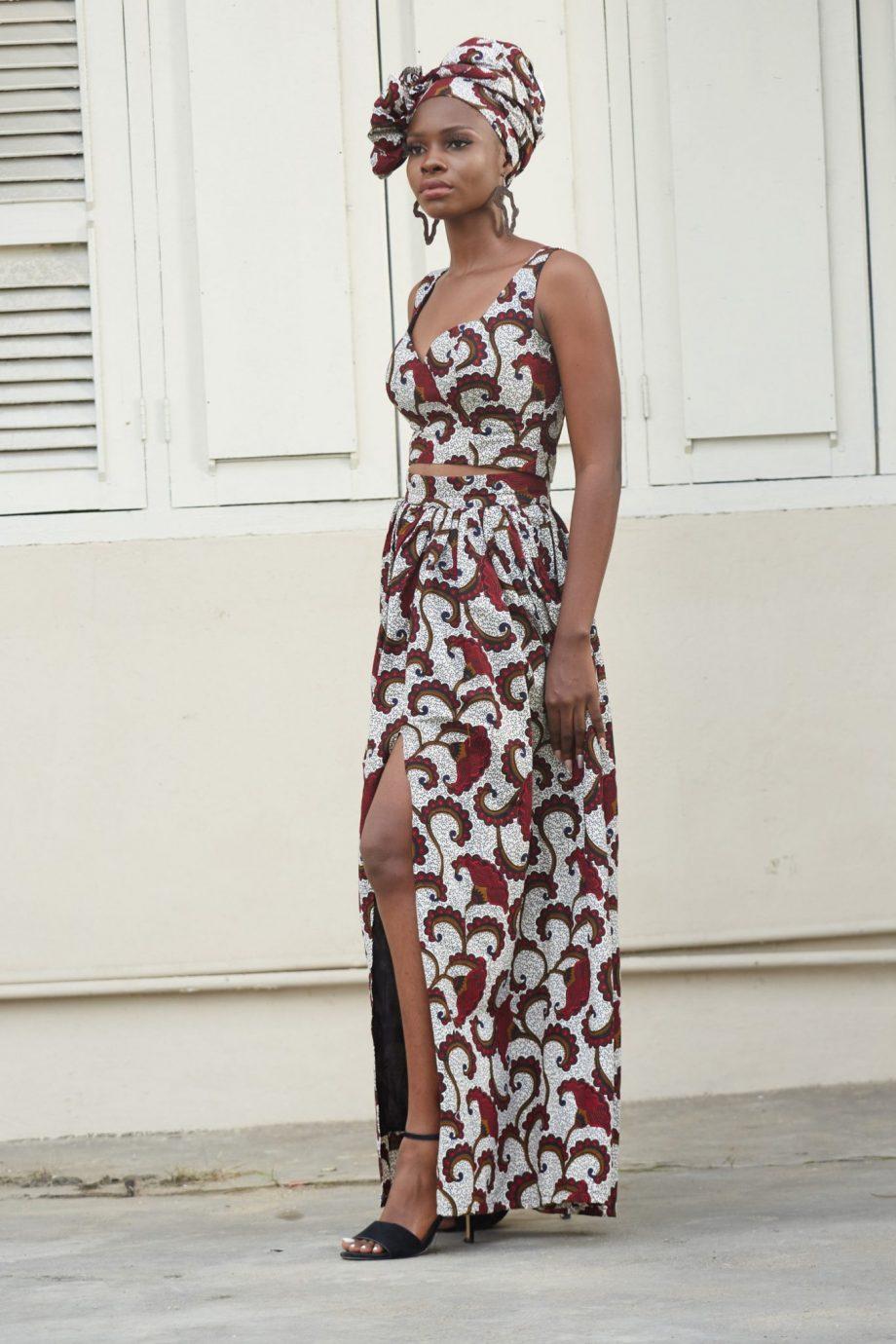 African Print Crop Top and Maxi Skirt Set