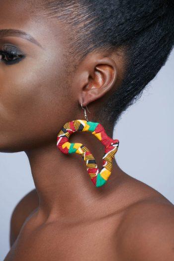 African Earrings Hadaya Ankara Africa Map Outline Earrings