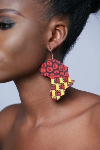 African Earrings - Makeda Ankara Africa Map Earrings
