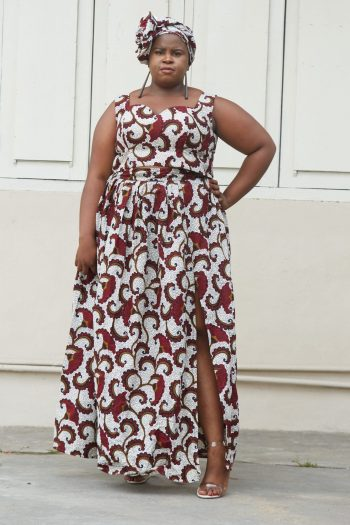 Plus Size African Print Crop Top and Maxi Skirt