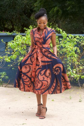African Dresses for Work and Church - African Print Kerhi Midi Shirt Dress by Naborhi