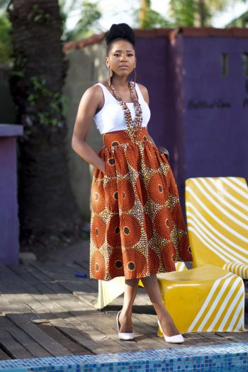 African Midi Skirt With Pockets - African Fashion Clothes for Women Tsegho by Naborhi