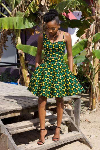 African Print Ankara Flared Mini Skirt by Naborhi - Dinma