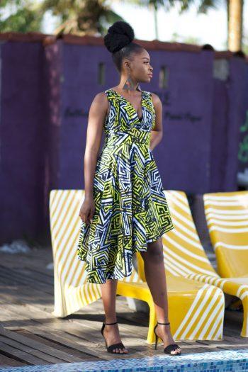 African Print Ankara Hi Low Dress by Naborhi - Kaira