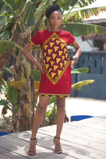 African Print Ankara Mini Shift Dress - Somma