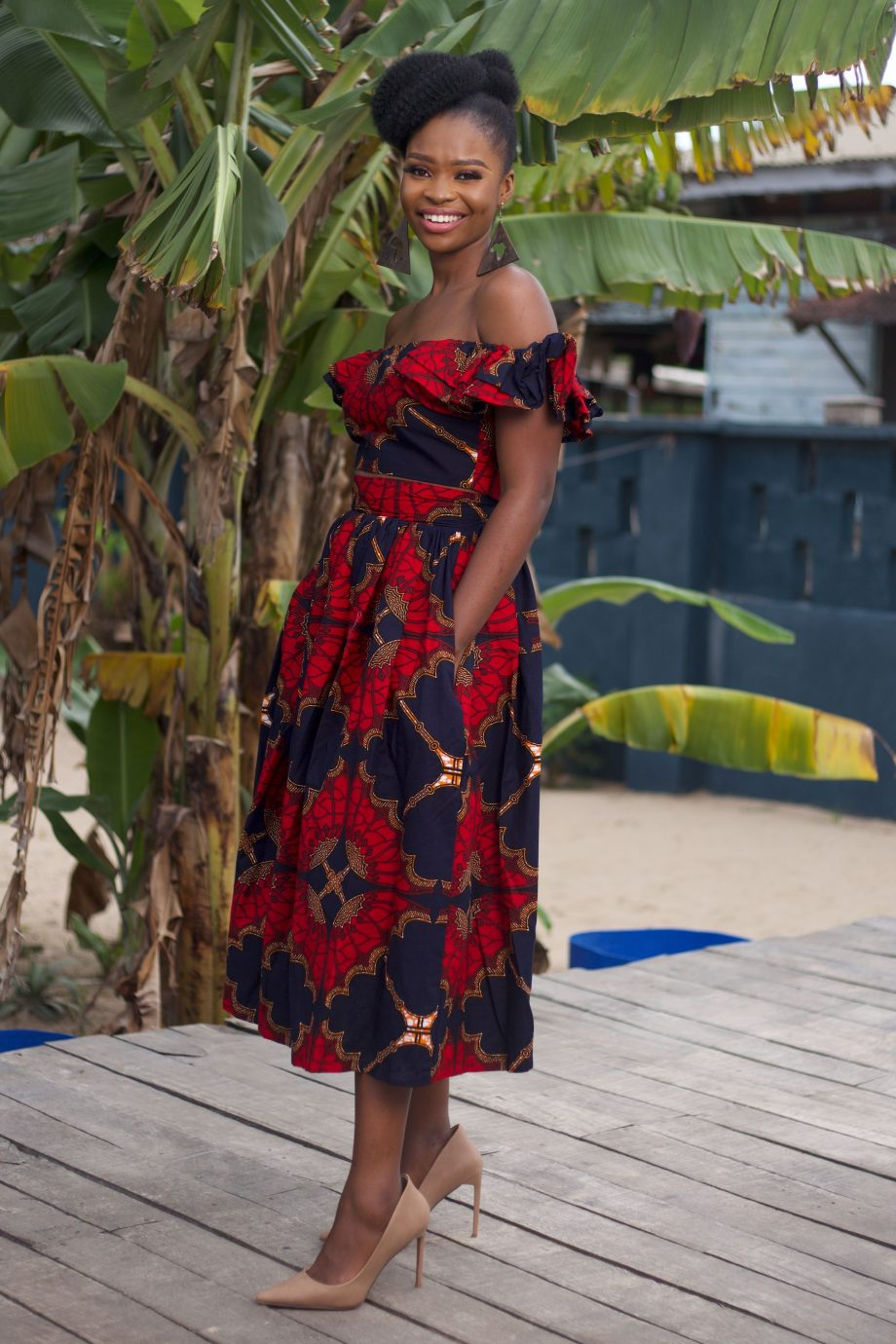 African Print Off Shoulder Top and Midi Skirt by Naborhi - Demi