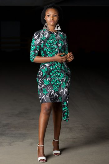 African Print Shift Dress with Adjustable Tie in Peacock Ankara Print - Siyonna by Naborhi