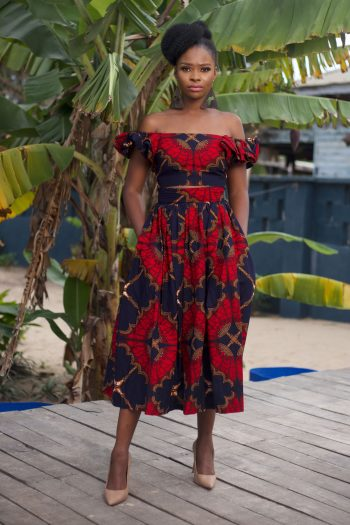 Ankara Crop Top and Midi Skirt in Red and Blue Ankara Print by Naborhi - Demi