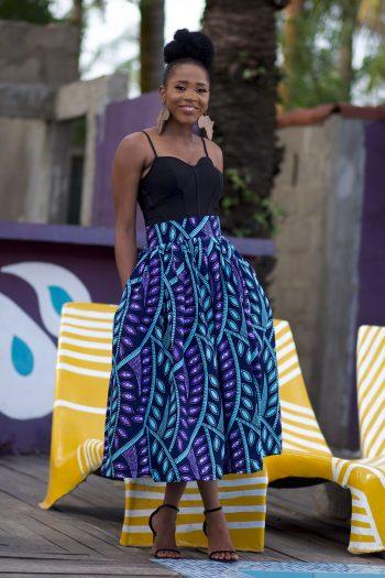 Beautiful African Print Midi Skirt by Naborhi - Kasiri