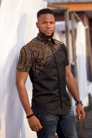 Dalmar Black Ankara Shirt for Men by Naborhi