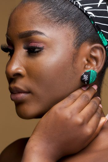 African Fabric Earrings in Button Stud Style in African Ankara Wax Cotton_Kanele_Naborhi
