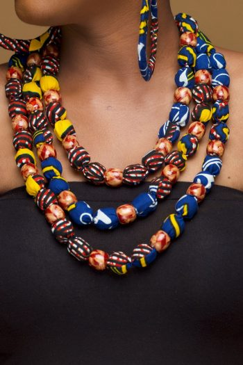 African Print Beaded Necklace in Ankara Wax Cotton_Reya_Naborhi