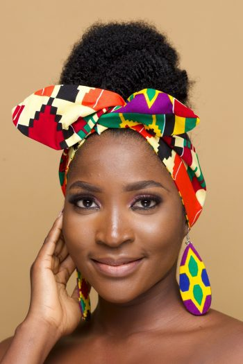 African Print Kente Head Tie in Ankara Wax Cotton_Ovieya_Naborhi
