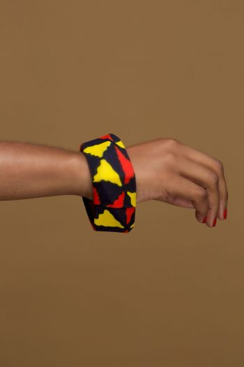 African Print Square Bangle in Red Black and Yellow Ankara Print_Mezia_Naborhi