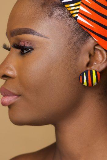 Ankara Button Stud Earrings in Yellow and orange_Tiyamike_Naborhi