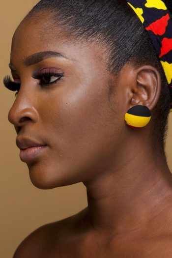 Mezia African Fabric Button Stud Earrings_Naborhi