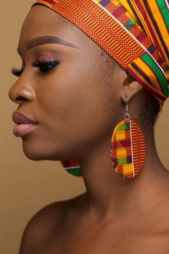 Rufaro Kente Circle Earrings - African Fabric Jewellery by Naborhi