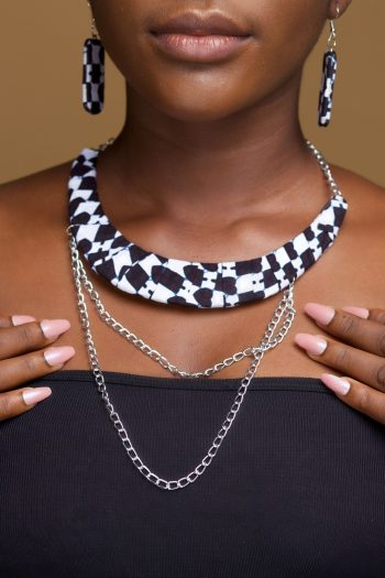 African Ankara Necklace with chain in White and Black by Naborhi