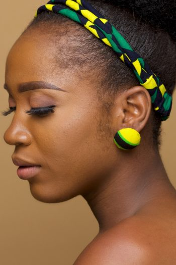 African Button Stud Earring with Headband Dinma by Naborhi