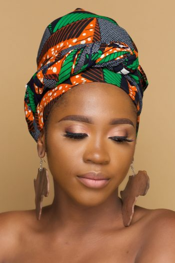 African Head Wrap Alheri in Printed Ankara Fabric by Naborhi