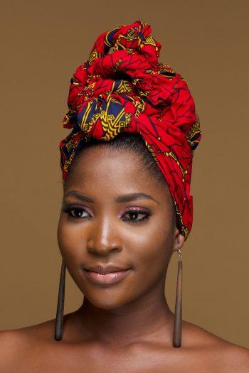 African Head Wrap Haseena in Red Geometric Ankara Print - African Hair Accessories by Naborhi