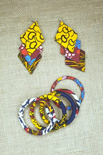 African Print Ankara Earring and Bangle Set