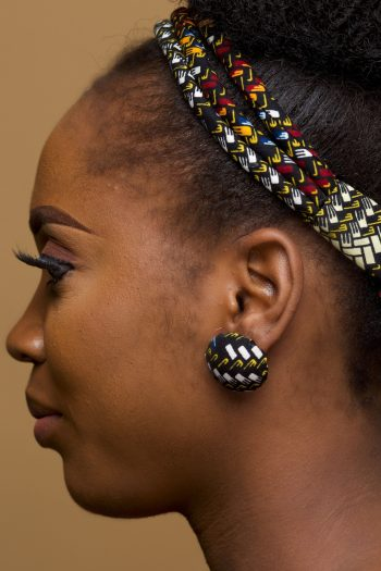 African Print Button Earrings Dele by Naborhi