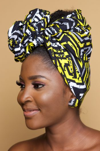 African Print Head Wrap in Yellow and Black - Kaira by Naborhi
