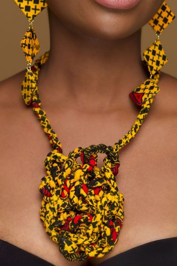 African Print Necklace in Knotted Design Adaeze by Naborhi